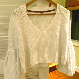 White Summer Sweater with Loose Sleeves